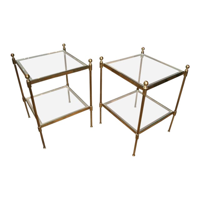 Pair of Italian 1960s Two-Tier End Tables in Brass For Sale