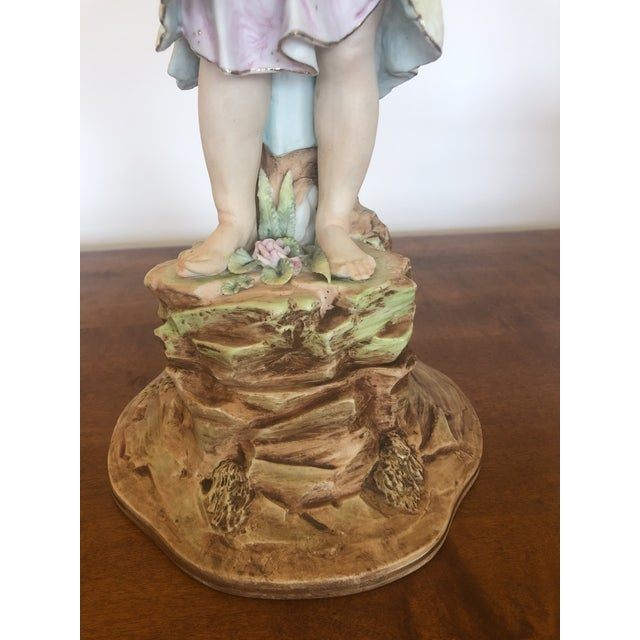 Traditional Large Antique Hand Painted Parian Porcelain Figure of a Girl For Sale - Image 3 of 13