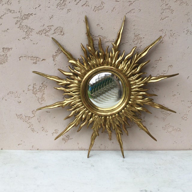 Wood French Gilded Wood Convex Sunburst Mirror For Sale - Image 7 of 7