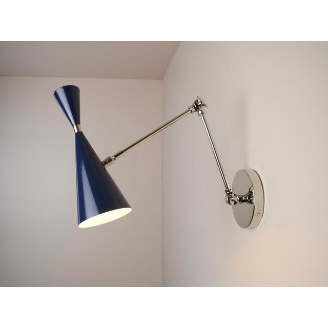 "Mid-Century Modern Blueprint Lighting ""Monolith"" Italian Nickel and Dark Blue Enamel Reading Lamp For Sale - Image 3 of 5"