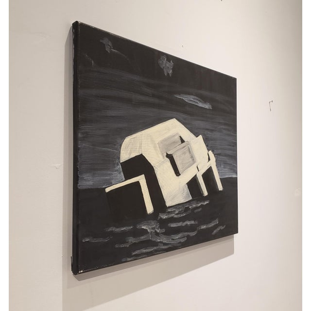 Contemporary Contemporary Night Painting of Beach Bunker Ruin by Lionel Lamy For Sale - Image 3 of 5