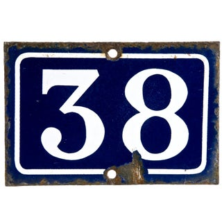 Vintage French Enamel House Number 38