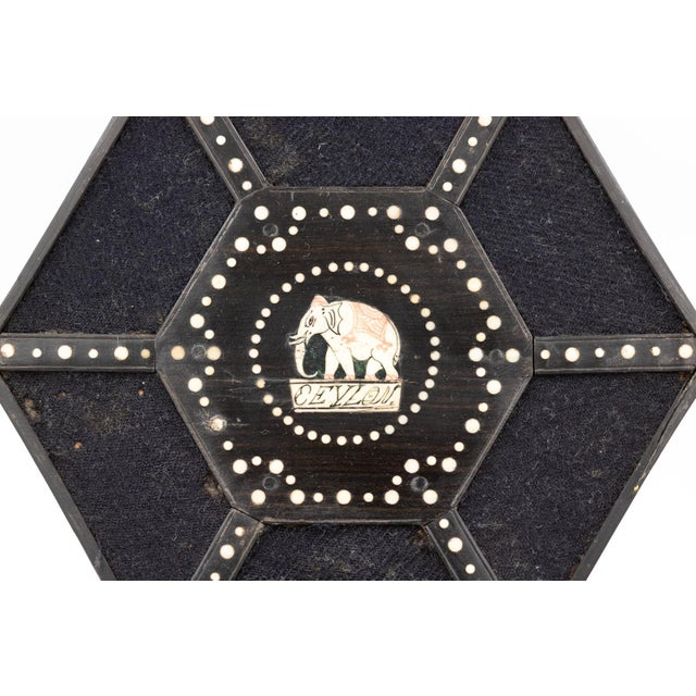 Pair of Ebony and Porcupine Quill Hexagonal Boxes, Ceylon, Circa 1880 For Sale - Image 9 of 10