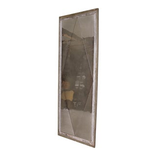 Antique Distressed French Floor Mirror With Diamond Pattern, 1940's For Sale