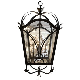 Wrought Iron and Braided Metal Four-Light Lantern For Sale