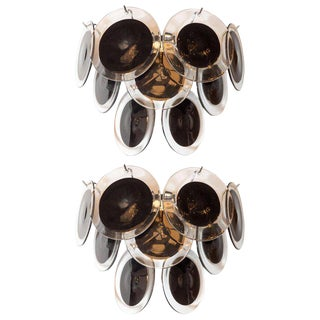 Modernist 9-Disc Sconces in Hand Blown Murano Black & Translucent Glass - a Pair For Sale