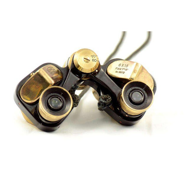 Gold Bushnell Brass Opera Binoculars With Leather For Sale - Image 8 of 9