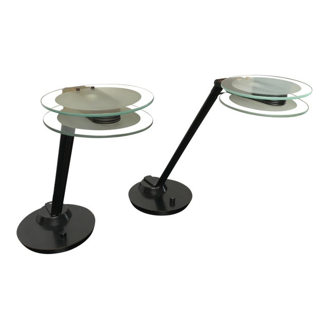 Black & Glass Post-Modern Italian Table Lamps by Relco - a Pair For Sale