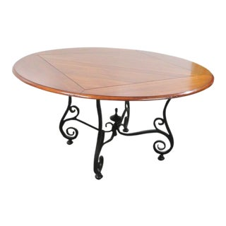 Mahogany & Iron Base Dining Table For Sale