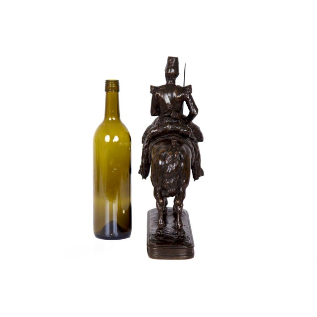 Antique French Bronze Sculpture of a Soldier on Horseback by Emmanuel Fremiet For Sale - Image 4 of 13