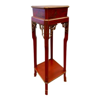 Chinese Red Lacqer and Parcel Gilt Chinoiserie Pedestal Stand For Sale