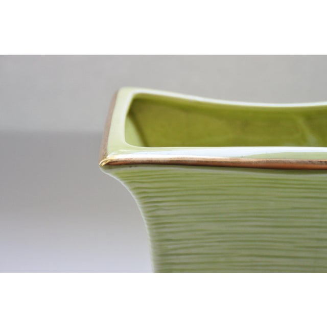 Mid Century Modern Chartreuse & Gold Planter For Sale - Image 4 of 4