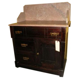Antique Eastlake Style Marble Top Dry Sink Table For Sale