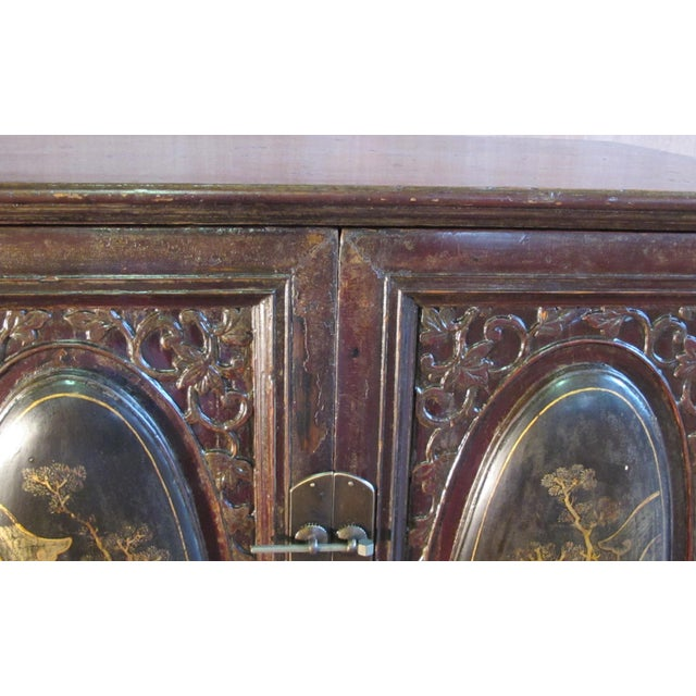 Chaozhou Painted & Carved Cabinets on Stand - Set of 3 For Sale - Image 9 of 13