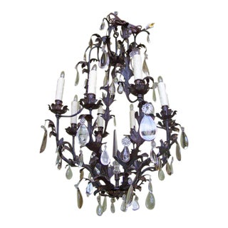 19th C French Iron and Tole Birdcage Chandelier For Sale
