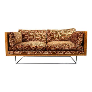 Milo Baughman Burl Wood and Chrome Case Loveseat With Jack Larsen Upholstery For Sale