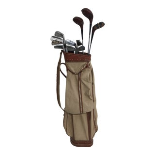 Vintage Set of Golf Clubs With Bag - Great for Decor For Sale