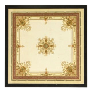 Cosigned Antique French Ceiling Lithograph C.1890 For Sale