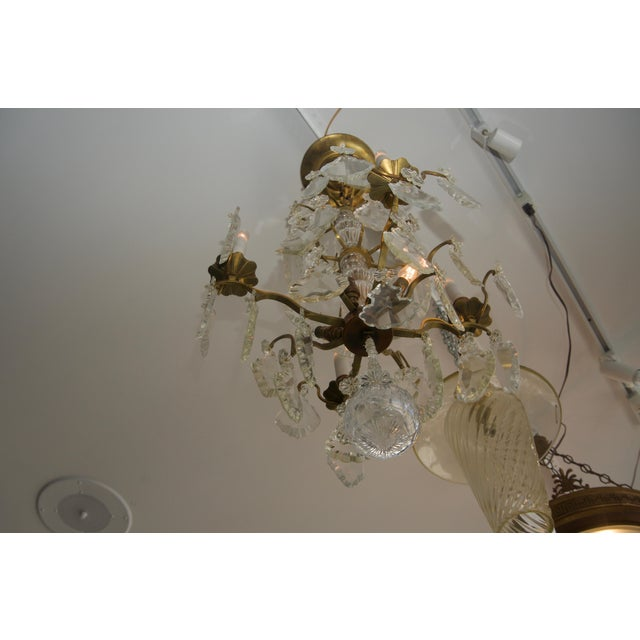 Louis XV Bronze & Hand-Cut Crystal Chandelier From France Circa 1850 For Sale - Image 4 of 9