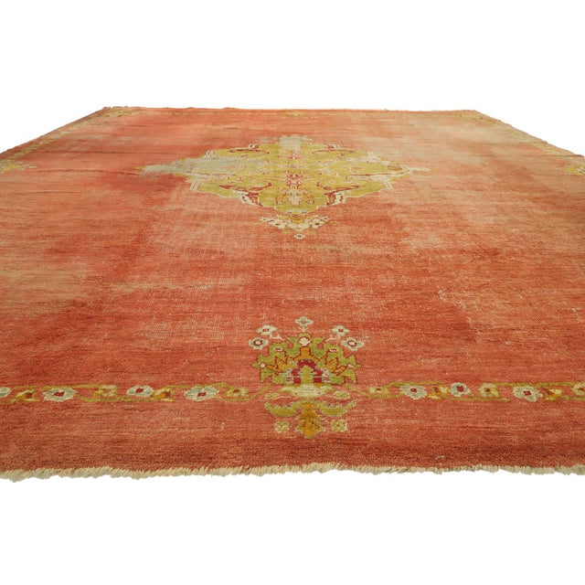 Islamic Distressed Antique Turkish Oushak Rug - 14'07 X 15'05 For Sale - Image 3 of 10