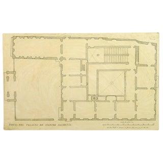 Giovanni Giacomo De Rossi, Antique Copper Engraving - Sacchetti Palace For Sale
