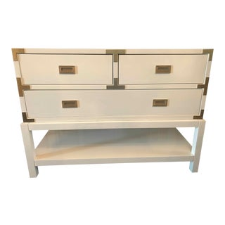Modern Bungalow 5 Tansu Campaign White Lacquered Console For Sale