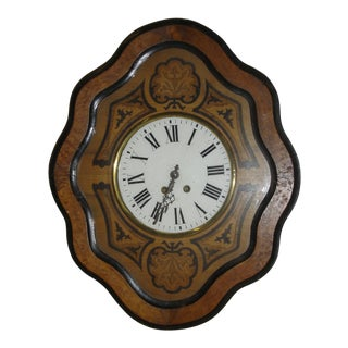 """19th Century Antique French Napoleon III """"Oeuil De Boeuf"""" Eye of the Ox Inlaid Wall Clock For Sale"""