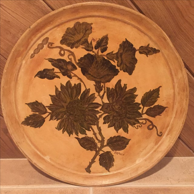 Antique Etched Cream & Gold Tole Tray - Image 2 of 7
