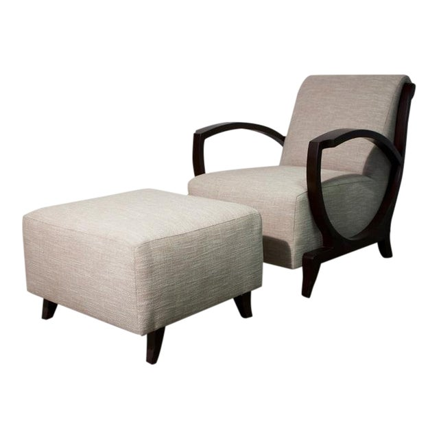 Art Deco Club Chair and Ottoman For Sale