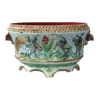 19th Century Antique Majolica Insects Musicians Jardinière For Sale