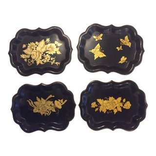 Chinoiserie Black & Gold Tole Tray/Catchalls - Set of 4 For Sale