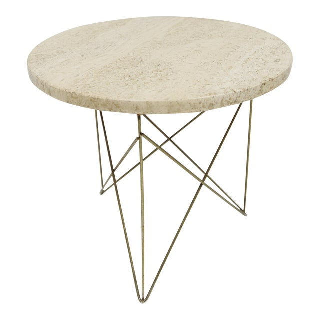 1950s Mid-Century Modern Martin Perfit for Brancusi Travertine Top Wire Base Side Table For Sale