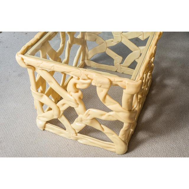 """1970's Vintage """"Ribbon"""" Yellow Resin Side Tables, A-Pair For Sale In West Palm - Image 6 of 12"""