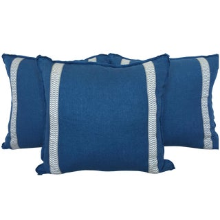 Custom Blue & Greige Pillows - Set of 3