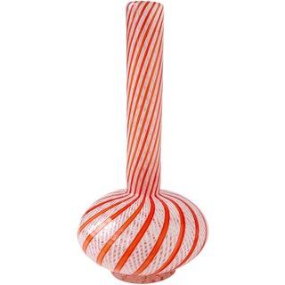 Fratelli Toso Murano Orange White Ribbon Italian Vase, Mid 20th Century For Sale
