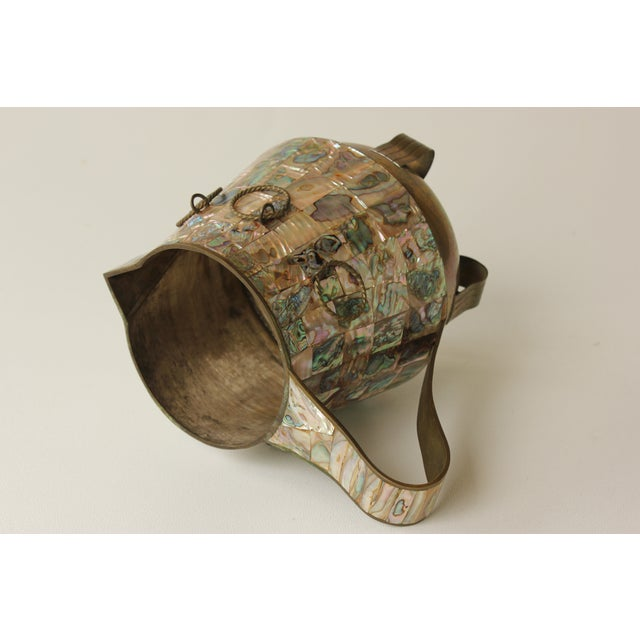 Salvador Teran Abalone Shell & Brass Pitcher For Sale In Madison - Image 6 of 7
