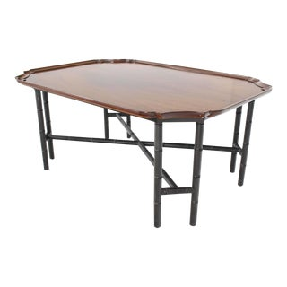 1950s Vintage Kittinger Faux Bamboo Tray Top Rectangle Coffee Table For Sale