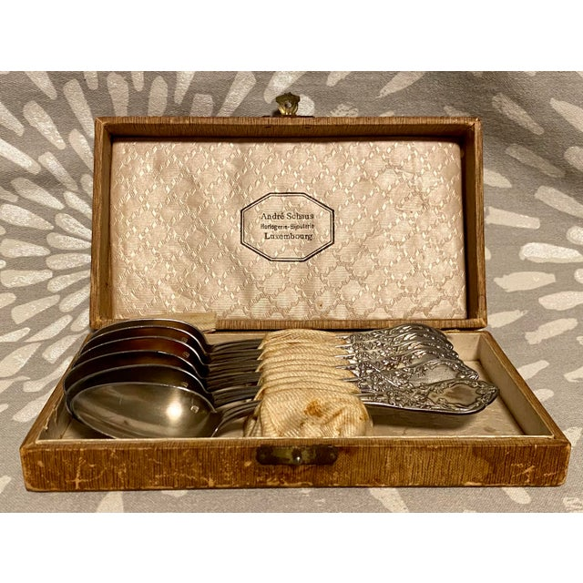 1890s Antique Societe Francaise d'Alliages Et De Metaux Spoon Set With Box - Set of 6 For Sale - Image 10 of 10