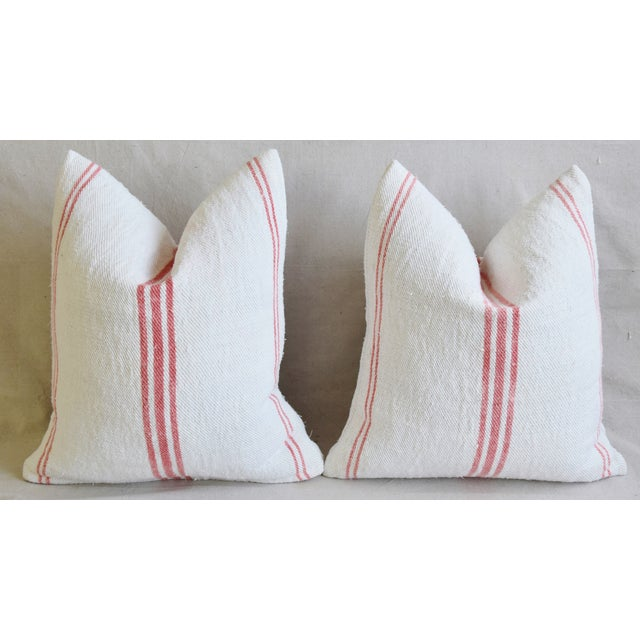"""Pink French Homespun Rose/Pink Striped Grain Sack Feather/Down Pillows 19"""" X 21"""" - Pair For Sale - Image 8 of 13"""