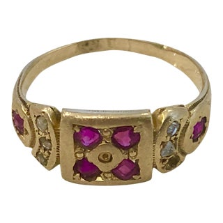 Antique Georgian Ruby and Diamond Gold Ring For Sale