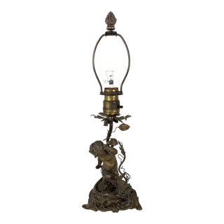 Antique 'Old Gold' Italian Table Lamp With Cherub / Angel (Putto) and Vines For Sale