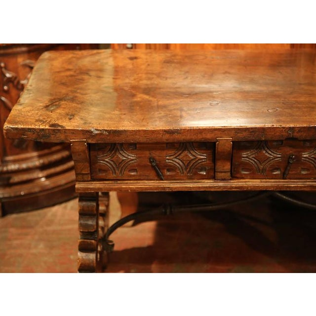 Metal 18th Century Spanish Carved Walnut Table Desk For Sale - Image 7 of 10