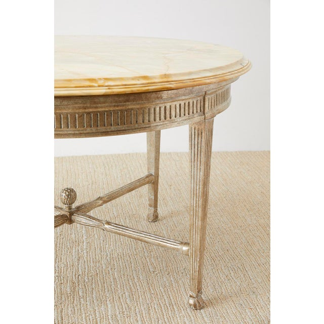 Neoclassical Style Silver Gilt Marble-Top Center Table For Sale - Image 10 of 13