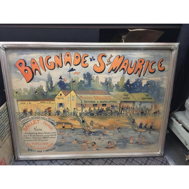 Green Antique French Advertising Poster Baignade De St . Maurice For Sale - Image 8 of 8