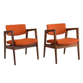 Gunlocke Walnut Armchairs For Sale