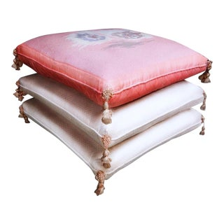 Tasseled Pillow Pouf Stack Ottoman on Casters
