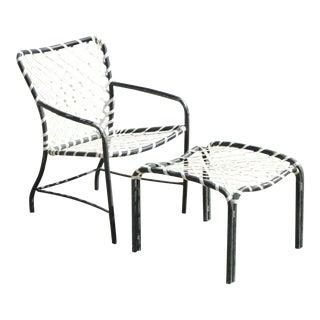 Brown Jordan Tamiami Aluminum Vinyl Strap Pool Patio Arm Chair and Ottoman For Sale