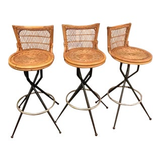 1960s Mid-Century Modern Wicker Stools - Set of 3