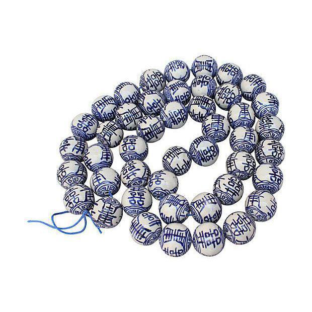 Asian Blue & White Chinese Porcelain Beads - Set of 50 For Sale - Image 3 of 3