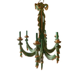 Mid 20th Century Vintage Italian Chandelier Hand Carved Wood For Sale